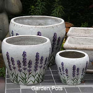 Garden Pots with Lavendar design