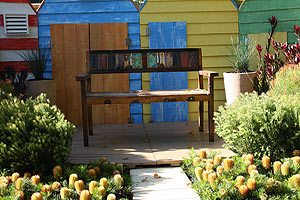Feature seat in a small garden